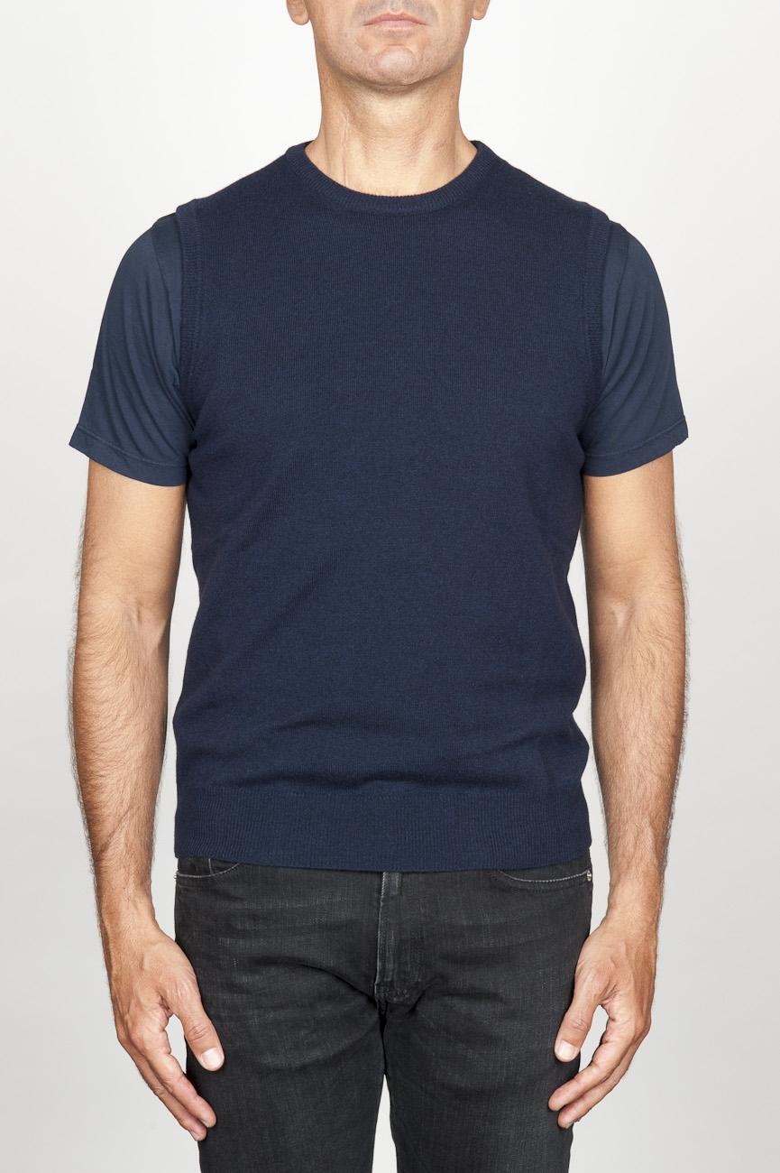 SBU 00959 Gilet girocollo classico in maglia di misto cashmere blu 01