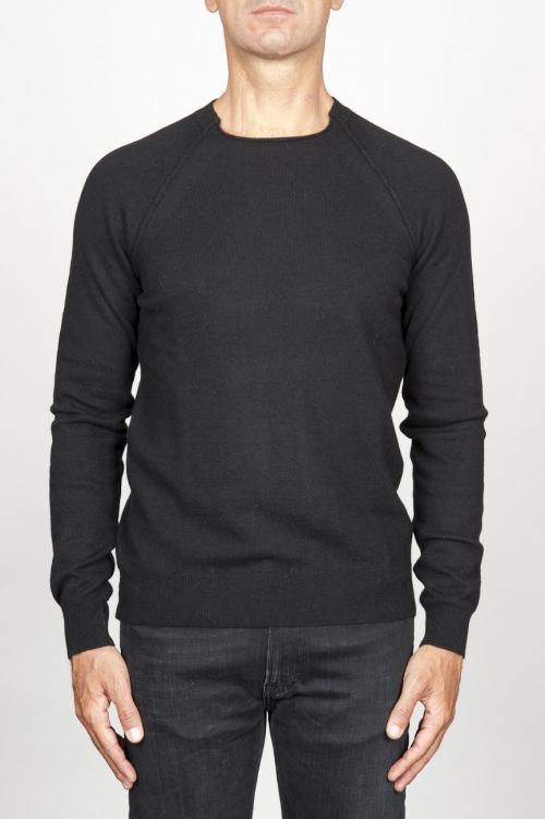 SBU 00960 Suéter clásico de cuello redondo irregular en lana merina negro 01