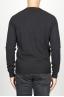 SBU 00960 Suéter clásico de cuello redondo irregular en lana merina negro 04