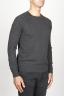 SBU 00961 Round neck sweater in grey merino wool raw cut neckline 02