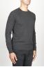 SBU 00961 Suéter clásico de cuello redondo irregular en lana merina gris 02