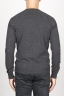 SBU 00961 Round neck sweater in grey merino wool raw cut neckline 04