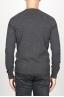 SBU 00961 Suéter clásico de cuello redondo irregular en lana merina gris 04