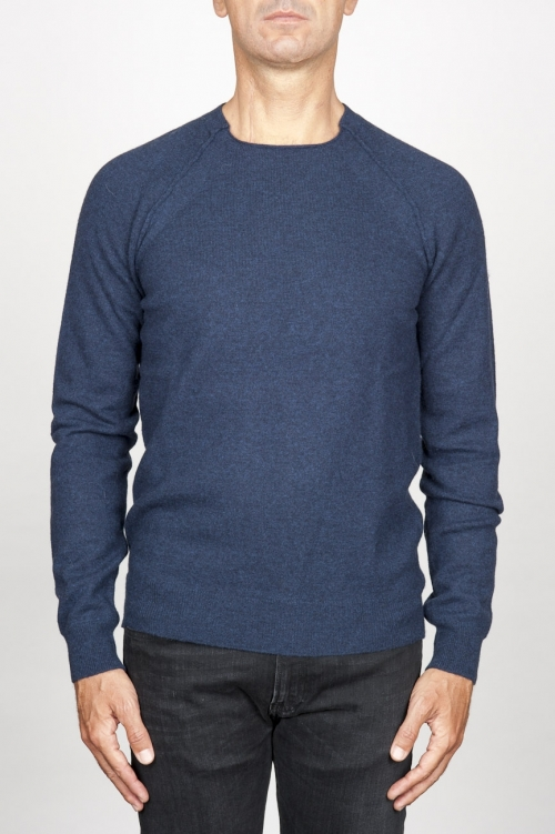 SBU 00962 Round neck sweater in blue merino wool raw cut neckline 01