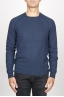 SBU 00962 Suéter clásico de cuello redondo irregular en lana merina azul 01