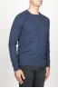 SBU 00962 Round neck sweater in blue merino wool raw cut neckline 02