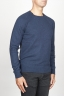 SBU 00962 Suéter clásico de cuello redondo irregular en lana merina azul 02