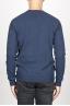 SBU 00962 Round neck sweater in blue merino wool raw cut neckline 04