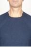 SBU 00962 Round neck sweater in blue merino wool raw cut neckline 05
