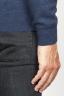 SBU 00962 Round neck sweater in blue merino wool raw cut neckline 06