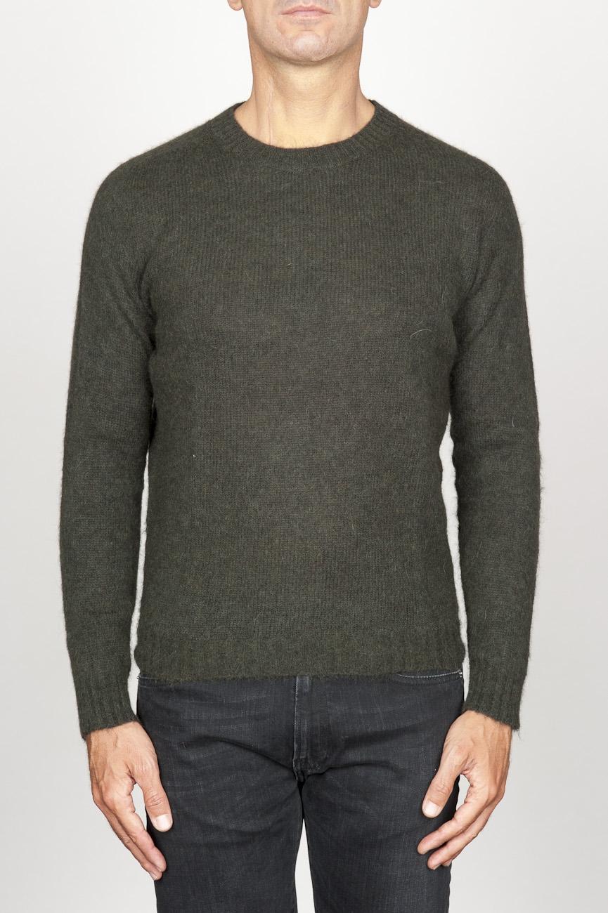 SBU 00963 Classic crew neck sweater in green alpaca blend 01