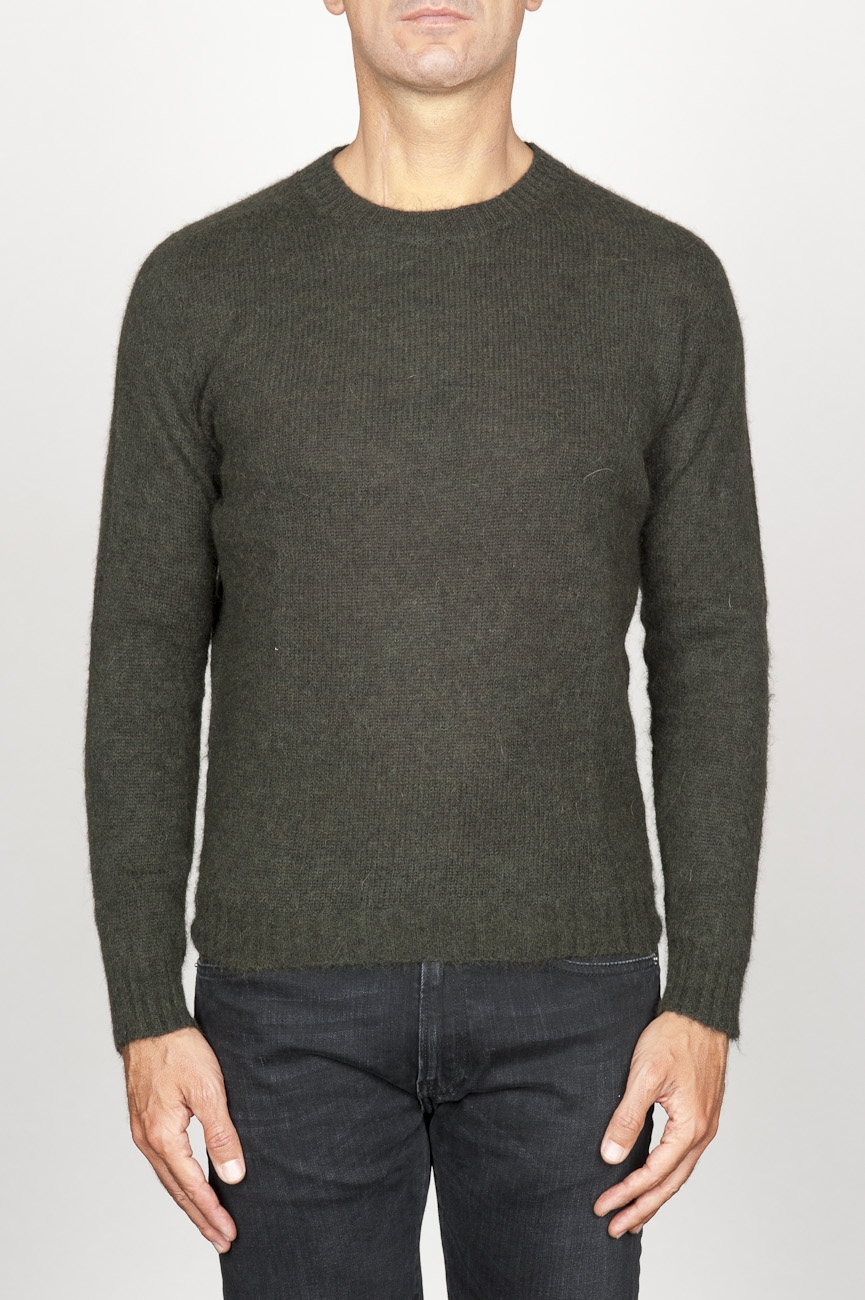 SBU 00963 Classic crew neck sweater in green alpaca blend 01