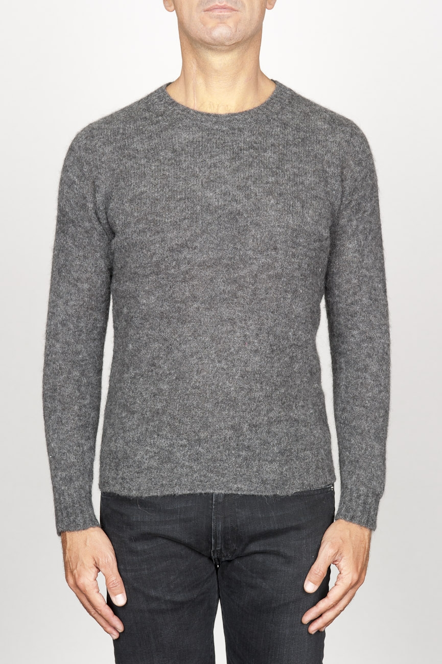 SBU 00964 Classic crew neck sweater in grey alpaca blend 01