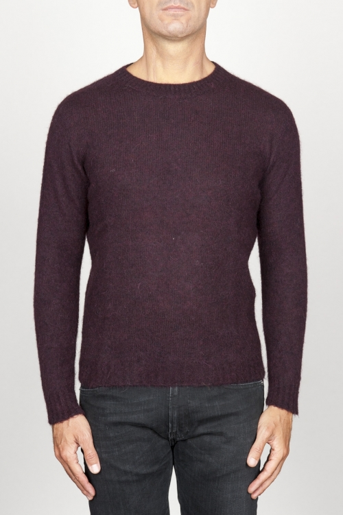 SBU 00965 Classic crew neck sweater in red alpaca blend 01