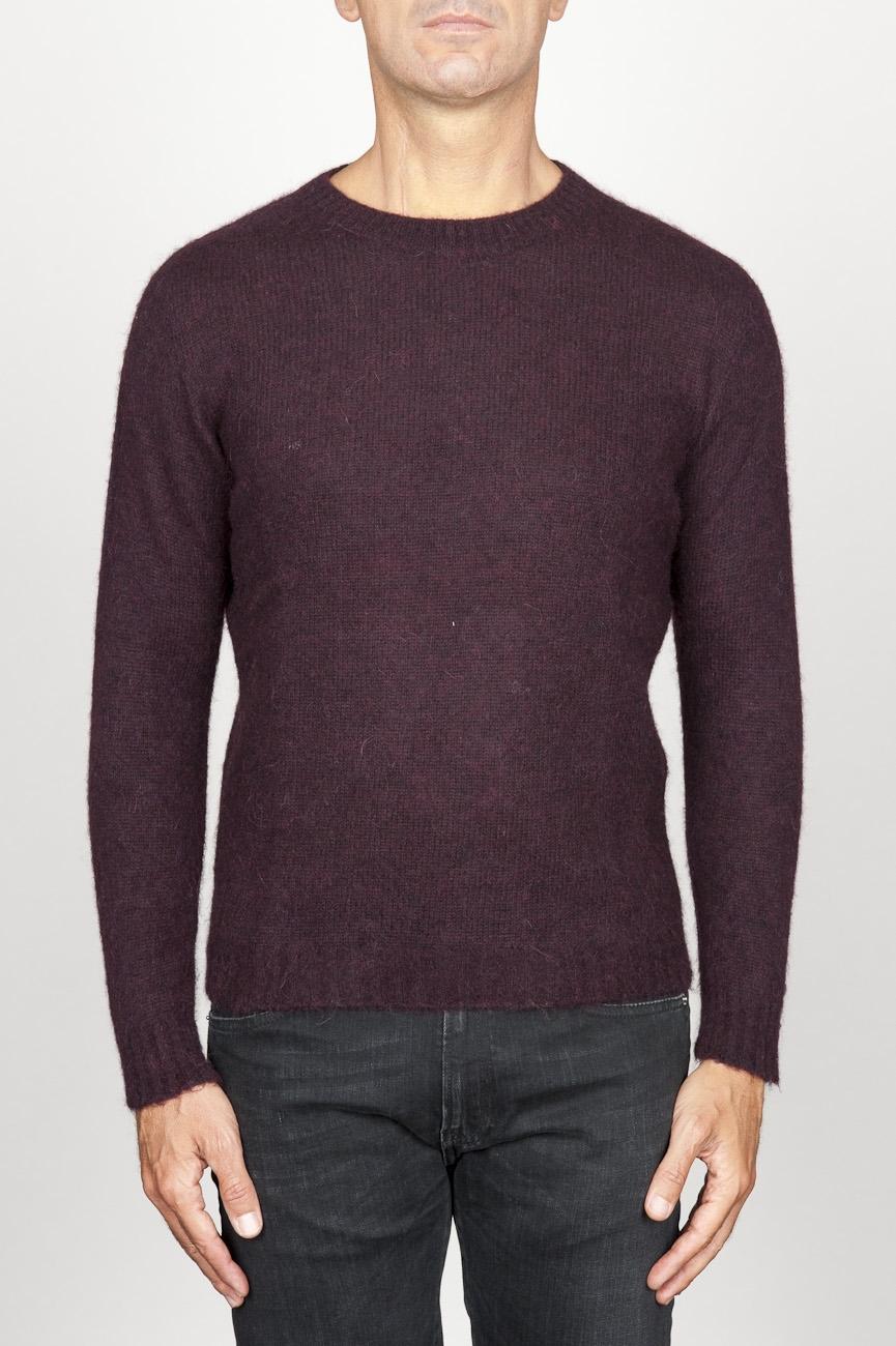SBU 00965 Classic crew neck sweater in red alpaca blend 01