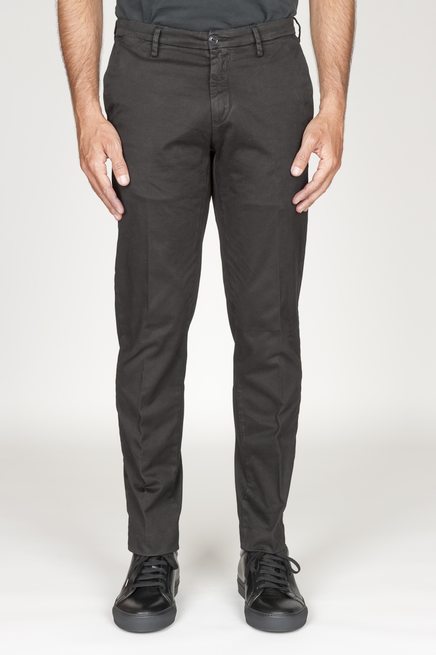 SBU 00966 Pantaloni chino classici in cotone stretch nero 01
