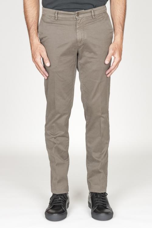 Classique pantalon chinois en coton marron élastique