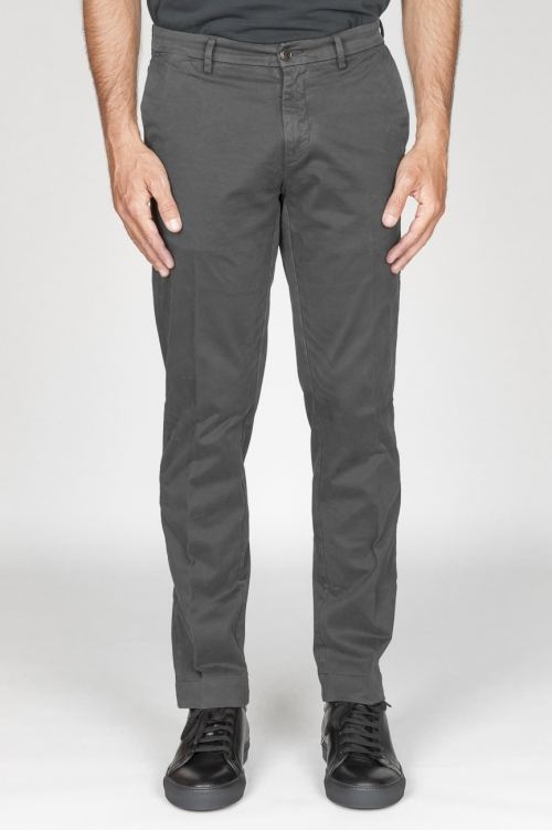 Classique pantalon chinois en coton gris élastique