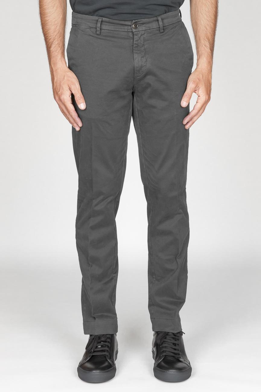 SBU 00968 Classique pantalon chinois en coton gris élastique 01
