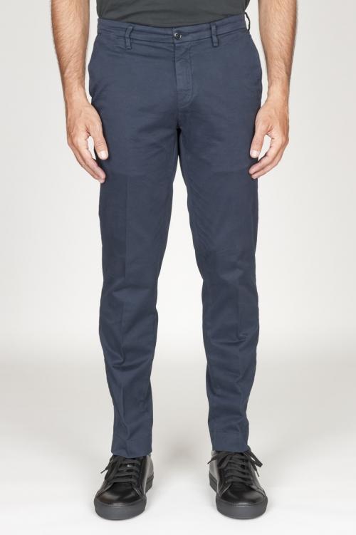 Classique pantalon chinois en coton bleu foncé élastique