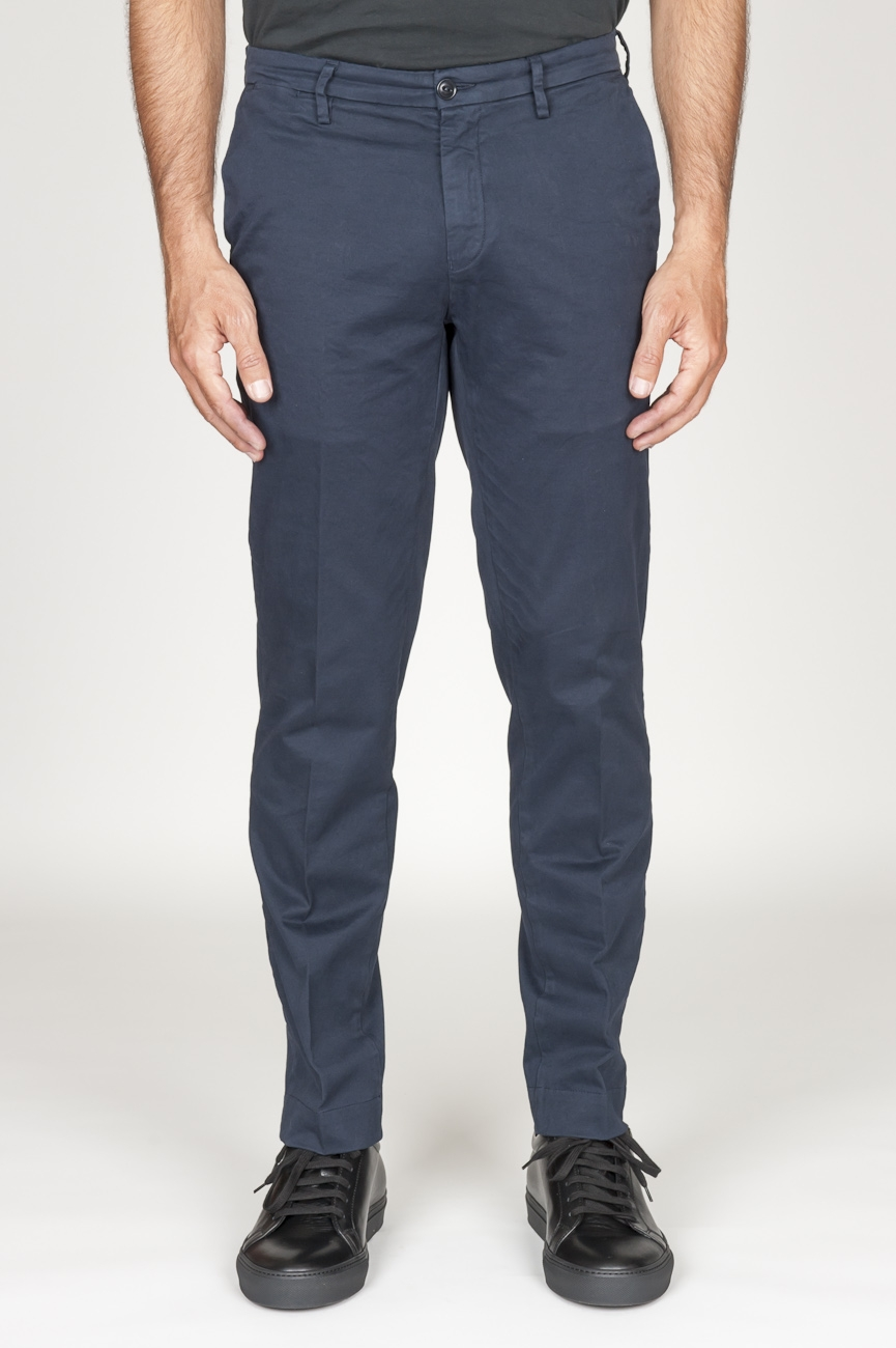 SBU 00969 Pantaloni chino classici in cotone stretch blu navy 01