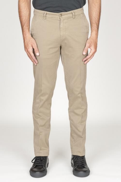 Pantaloni chino classici in cotone stretch beige kahki