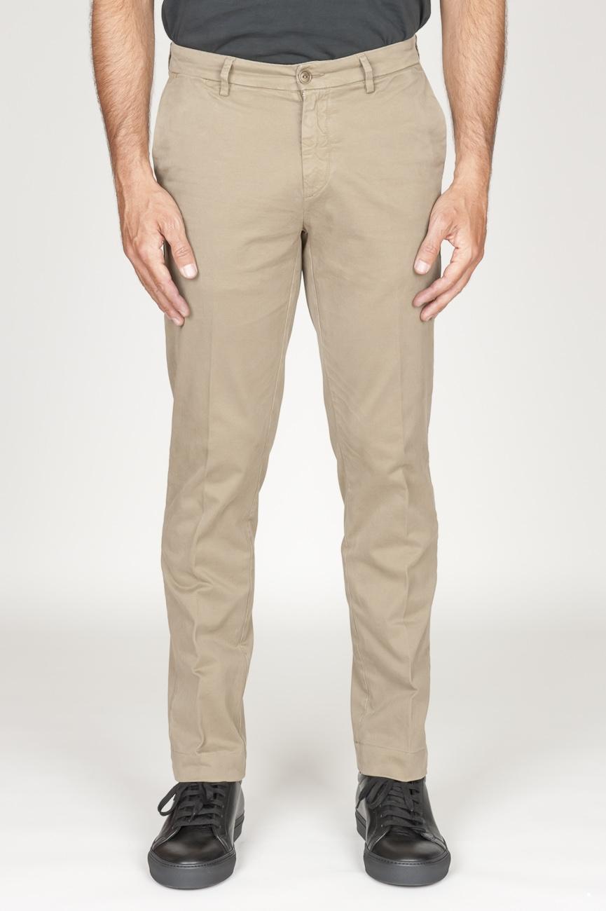 SBU 00970 Clásico pantalón chino en algodón elástico beige 01