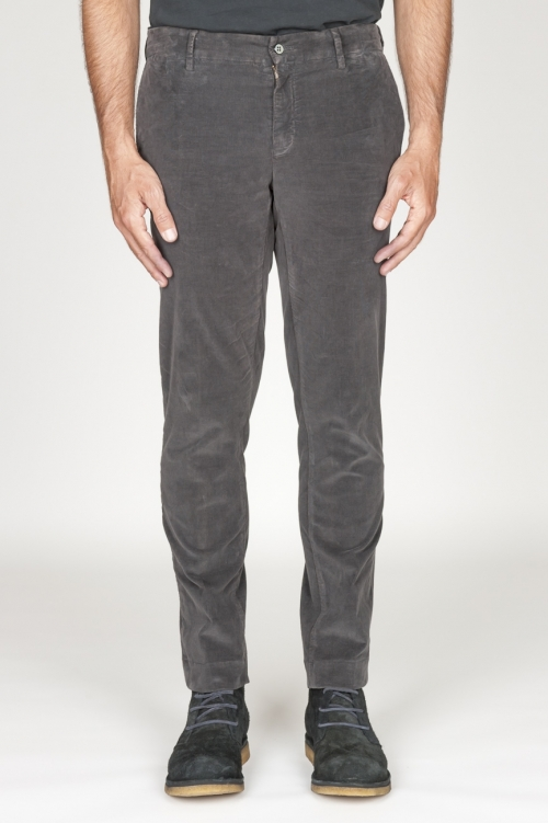 Classic chino pants in grey stretch cotton corduroy