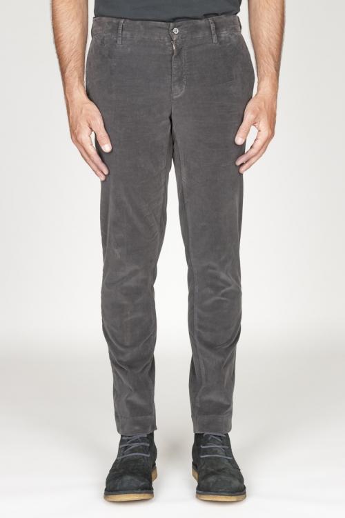 Pantaloni chino classici in velluto stretch mille righe grigio