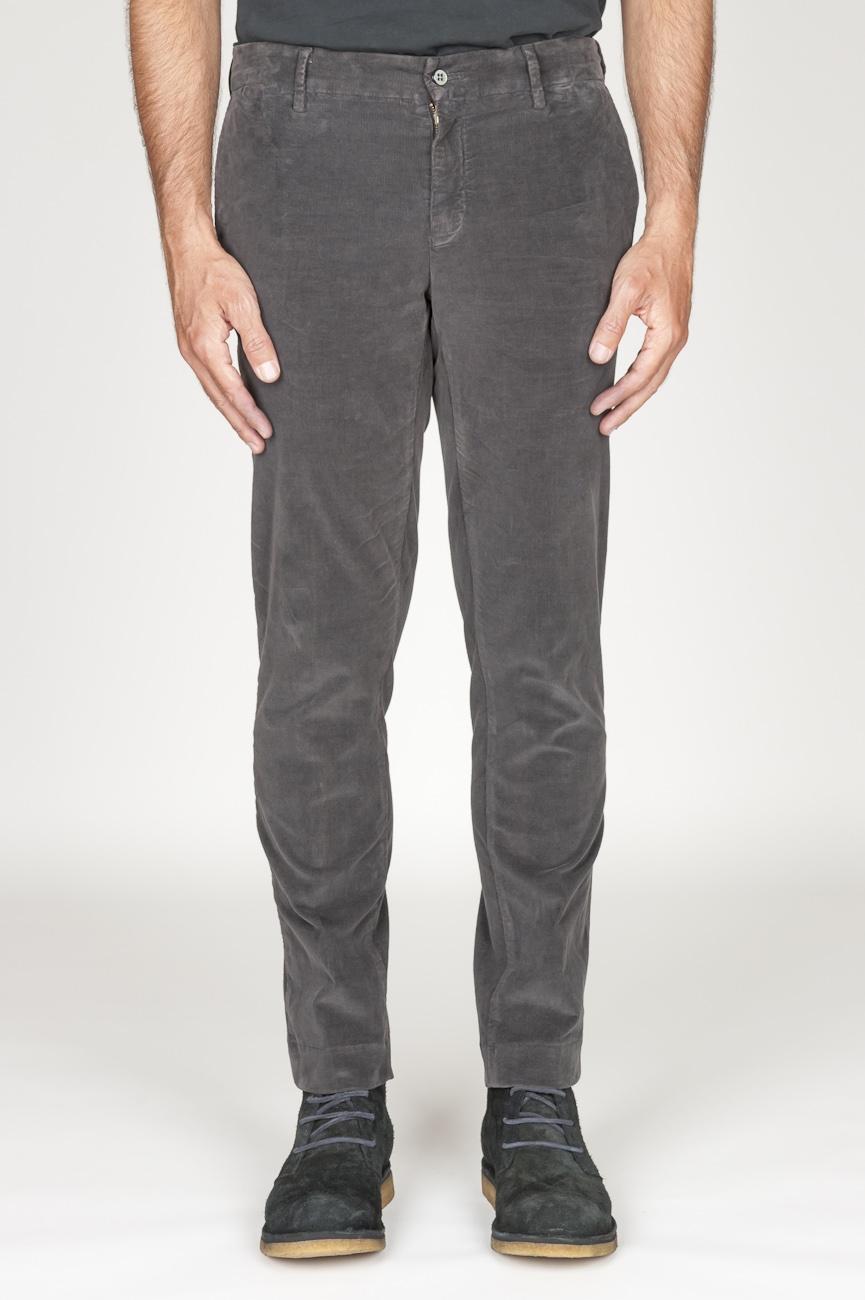 SBU 00972 Classic chino pants in grey stretch cotton corduroy 01