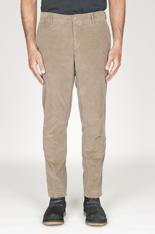 SBU 00973 Pantalón chino clásico en pana de algodón elástico beige 01