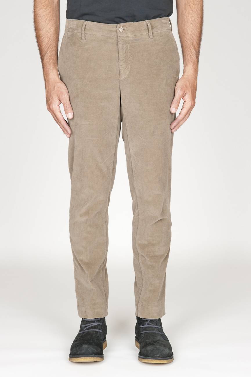 SBU 00973 Pantaloni chino classici in velluto stretch mille righe beige 01