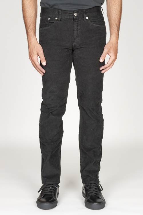 Overdyed stretch ribbed corduroy jeans black