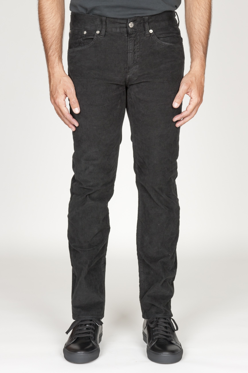 SBU 00975 Jeans velluto millerighe stretch sovratinto nero 01