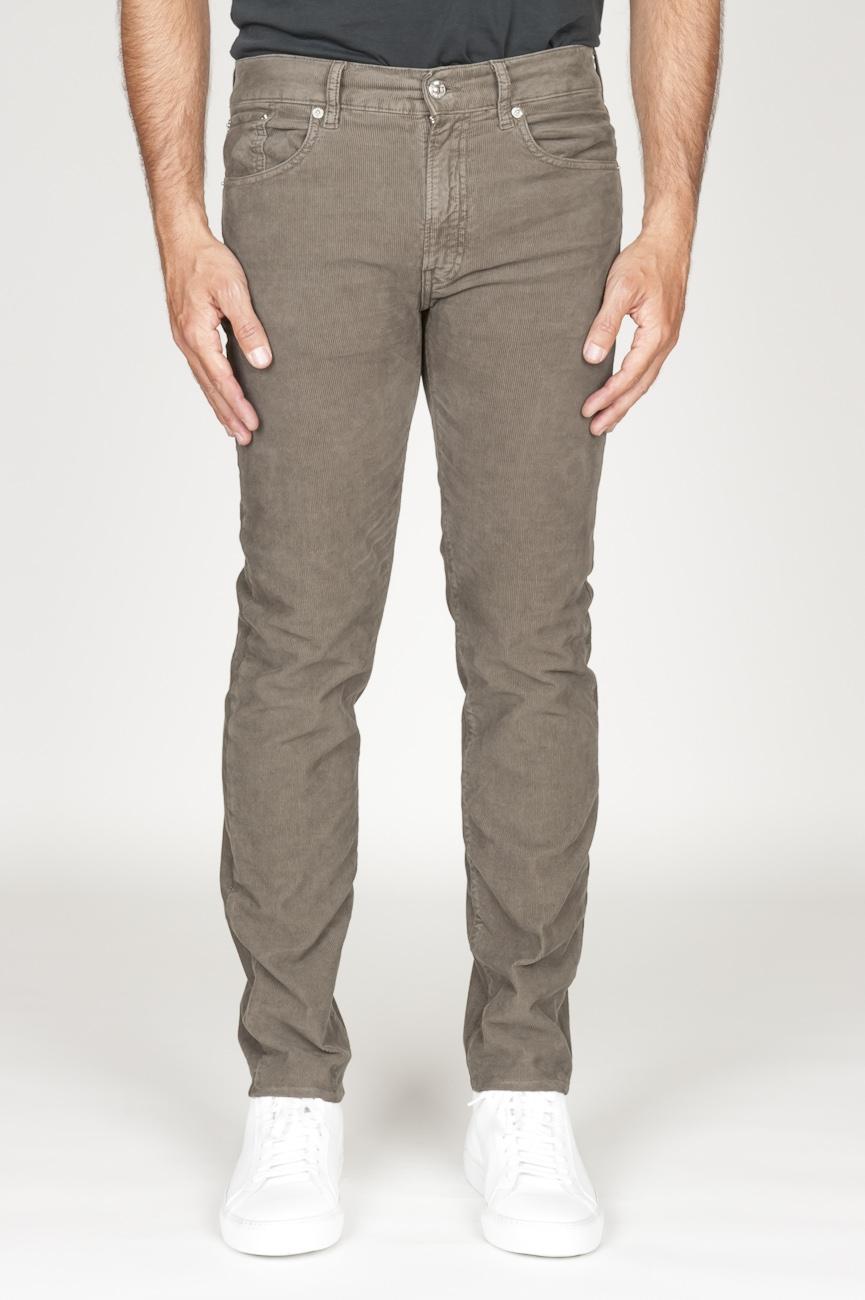 SBU 00976 Jeans de pana desgastada elástica marrón claro 01