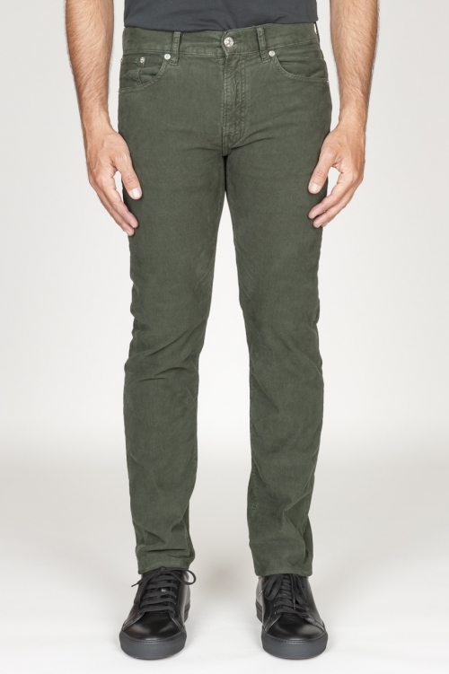 Jeans de pana desgastada elástica verde