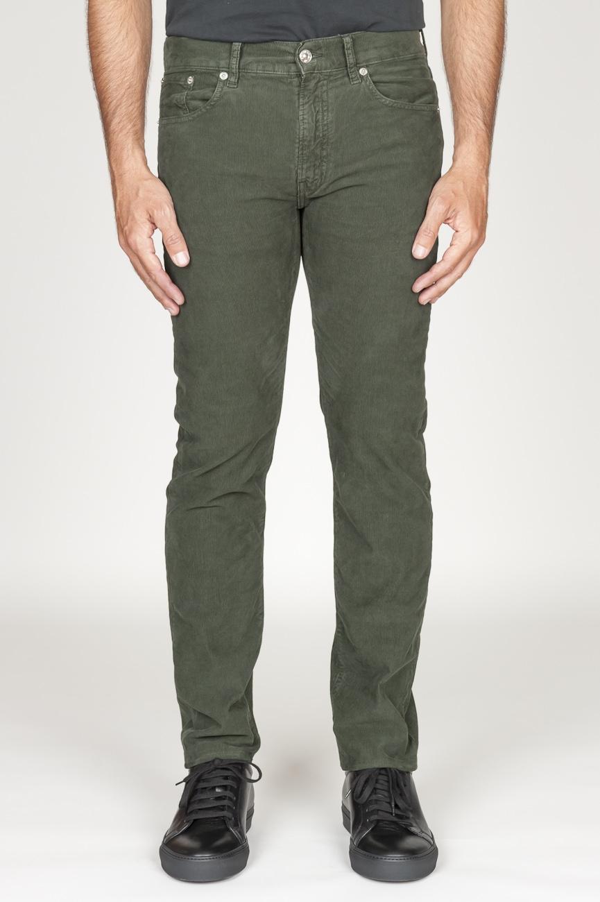 SBU 00977 Jeans de pana desgastada elástica verde 01