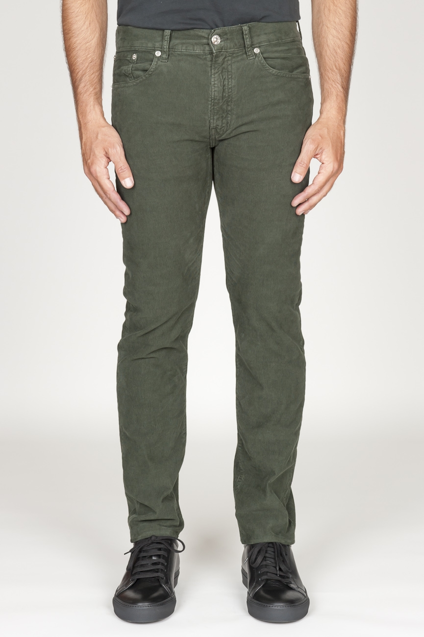 SBU 00977 Overdyed stretch ribbed corduroy jeans green 01