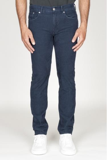 SBU 00978 Jeans velluto millerighe stretch sovratinto blu navy 01