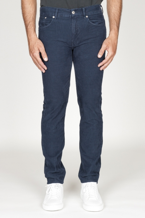 Overdyed stretch ribbed corduroy jeans blue navy