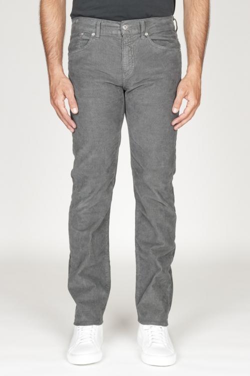 Jeans de pana desgastada elástica gris