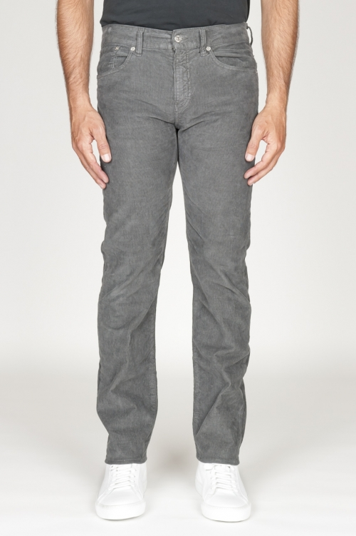 Overdyed stretch ribbed corduroy jeans grey