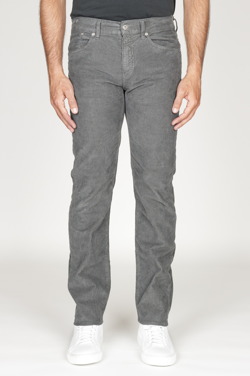 SBU 00979 Overdyed stretch ribbed corduroy jeans grey 01