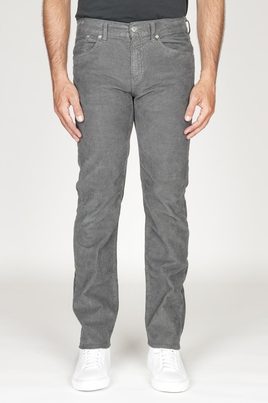SBU 00979 Jeans velluto millerighe stretch sovratinto grigio 01