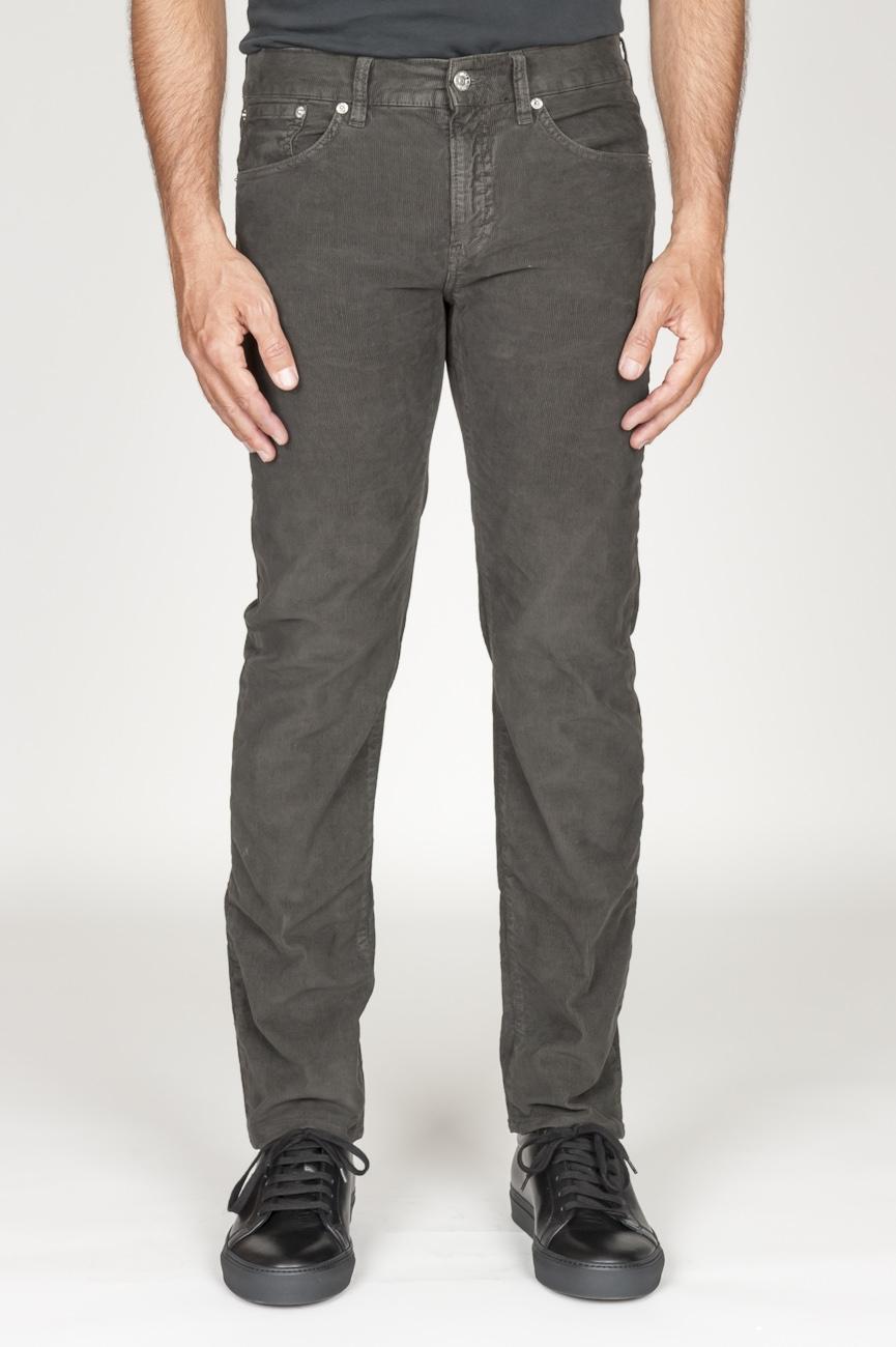 SBU 00980 Jeans de pana desgastada elástica marrón oscuro 01
