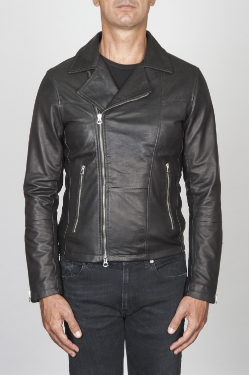 SBU 00446 Classic motorcycle jacket in black calf-skin leather 01