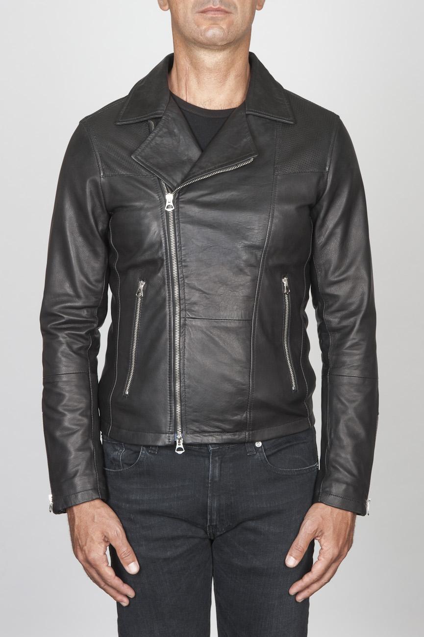 SBU 00446 Veste de motard classique en cuir de veau noir 01