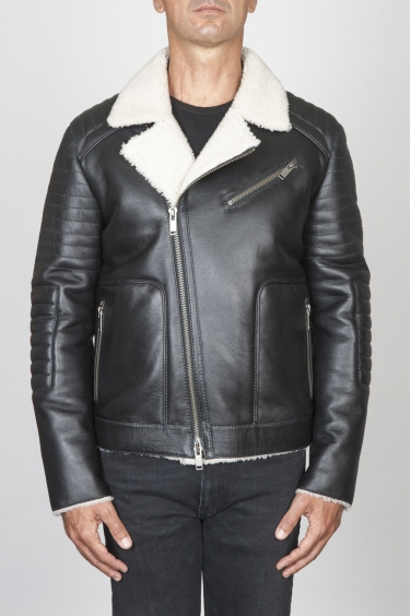 SBU 00447 Classic motorcycle jacket nera in montone 01
