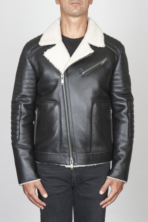SBU 00447 Classic motorcycle jacket in black sheepskin leather 01