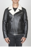 SBU 00447 Classic motorcycle jacket in black sheepskin leather 01